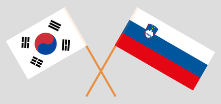 Slovenia and South Korea. The Slovenian and Korean flags. Official colors. Correct proportion. Vector illustration