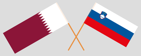 Slovenia and Qatar. The Slovenian and Qatari flags. Official colors. Correct proportion. Vector illustration Ilustração