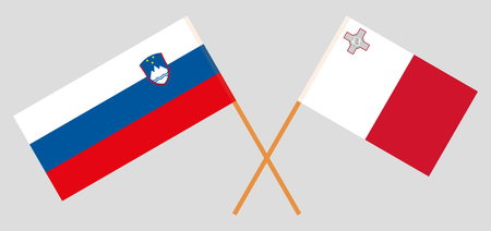 Slovenia and Malta. The Slovenian and Maltese flags. Official colors. Correct proportion. Vector illustration Ilustração