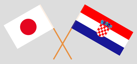 Croatia and Japan. The Croatian and Japanese flags. Official colors. Correct proportion. Vector illustration