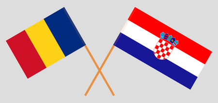 Croatia and Romania. The Croatian and Romanian flags. Official colors. Correct proportion. Vector illustration