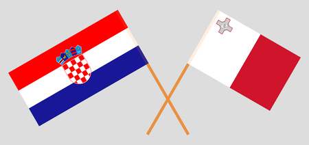 Croatia and Malta. The Croatian and Maltese flags. Official colors. Correct proportion. Vector illustration