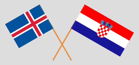 Croatia and Iceland. The Croatian and Icelandic flags. Official colors. Correct proportion. Vector illustration  Illustration