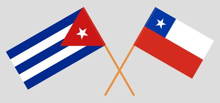 Cuba and Chile. Cuban and Chilean flags. Official colors. Correct proportion. Vector illustration