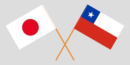 Chile and Japan. The Chilean and Japanese flags. Official colors. Correct proportion. Vector illustration