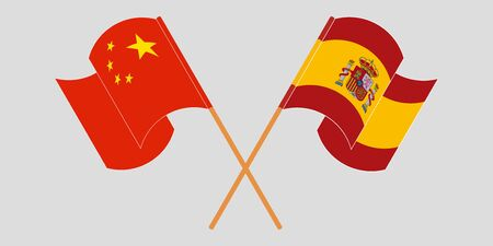 Crossed and waving flags of China and Spain. Vector illustration Illusztráció