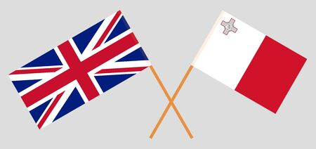 The UK and Malta. British and Maltese flags. Official colors. Correct proportion. Vector illustration