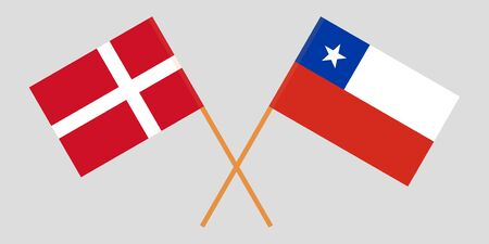 Chile and Denmark. The Chilean and Danish flags. Official colors. Correct proportion. Vector illustration