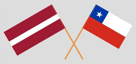 Chile and Latvia. Chilean and Latvian flags. Official colors. Correct proportion. Vector illustration