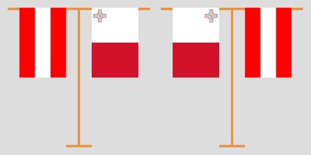 Austria and Malta. The Austrian and Maltese vertical flags. Official colors. Correct proportion. Vector illustration