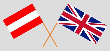 The UK and Austria. British and Austrian flags. Official colors. Correct proportion. Vector illustration Ilustracja
