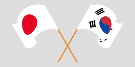 Crossed and waving flags of South Korea and Japan. Vector illustration