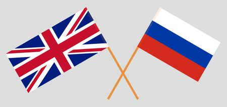 The UK and Russia. British and Russian flags. Official colors. Correct proportion. Vector illustration