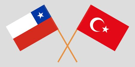 Chile and Turkey. The Chilean and Turkish flags. Official colors. Correct proportion. Vector illustration