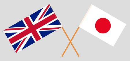 The UK and Japan. British and Japanese flags. Official colors. Correct proportion. Vector illustration