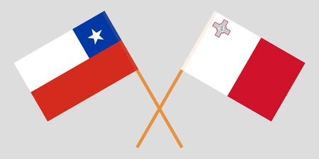 Chile and Malta. Chilean and Maltese flags. Official colors. Correct proportion. Vector illustration