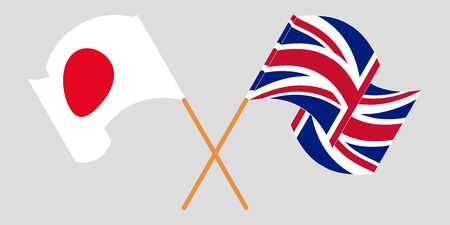 Crossed and waving flags of the UK and Japan. Vector illustration