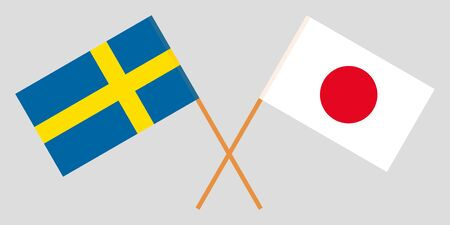 Sweden and Japan. The Swedish and Japanese flags. Official colors. Correct proportion. Vector illustration