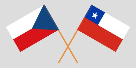 Chile and Czech Republic. The Chilean and Czech flags. Official colors. Correct proportion. Vector illustration