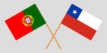 Chile and Portugal. Chilean and Portuguese flags. Official colors. Correct proportion. Vector illustration