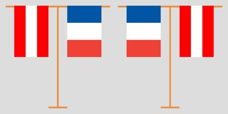 Austria and France. The Austrian and  French vertical flags. Official colors. Correct proportion. Vector illustration
