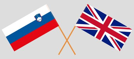 The UK and Slovenia. British and Slovenian flags. Official colors. Correct proportion. Vector illustration