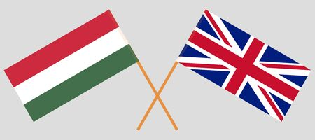 The UK and Hungary. British and Hungarian flags. Official colors. Correct proportion. Vector illustration