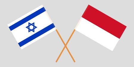 Indonesia and Israel. The Indonesian and Israeli flags. Official colors. Correct proportion. Vector illustration Imagens - 126176067