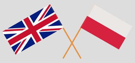 The UK and Poland. British and Polish flags. Official colors. Correct proportion. Vector illustration