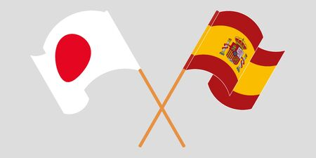 Crossed and waving flags of Spain and Japan. Vector illustration Illustration