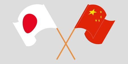 Crossed and waving flags of China and Japan. Vector illustration Illustration