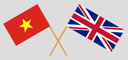 The UK and Vietnam. British and Vietnamese flags. Official colors. Correct proportion. Vector illustration