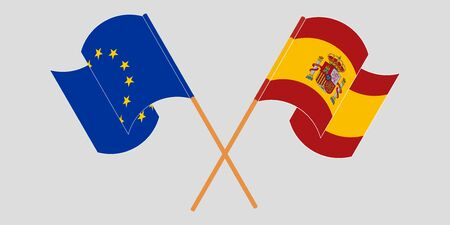 Crossed and waving flags of the EU and Spain. Vector illustration Çizim