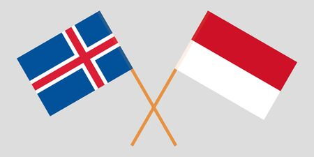 Indonesia and Iceland. The Indonesian and Icelandic flags. Official colors. Correct proportion. Vector illustration