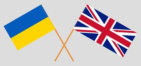 The UK and Ukraine. British and Ukrainian flags. Official colors. Correct proportion. Vector illustration