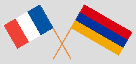 Armenia and France. Armenian and  French flags. Official colors. Correct proportion. Vector illustration