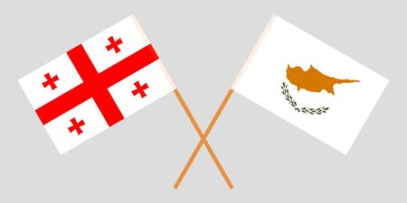 Georgia and Cyprus. Crossed Georgian and Cyprian flags. Official colors. Correct proportion. Vector illustration