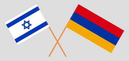 Armenia and Israel. Armenian and Israeli flags. Official colors. Correct proportion. Vector illustration Imagens - 128924997
