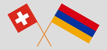 Armenia and Switzerland. Armenian and Swiss flags. Official colors. Correct proportion. Vector illustration Illustration