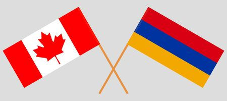 Armenia and Canada. Armenian and Canadian flags. Official colors. Correct proportion. Vector illustration Illustration