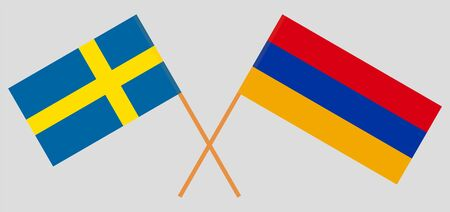 Armenia and Sweden. Armenian and Swedish flags Illustration
