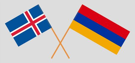 Armenia and Iceland. Crossed Armenian and Icelandic flags. Official colors. Correct proportion. Vector illustration