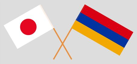 Armenia and Japan. Armenian and Japanese flags. Official colors. Correct proportion. Vector illustration