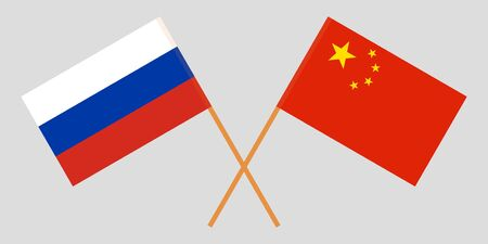 China and Russia. Crossed Chinese and Russian flags. Official colors. Correct proportion. Vector illustration