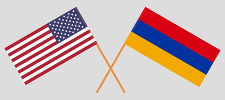 Armenia and the USA. Armenian and United States of America flags. Official colors. Correct proportion. Vector illustration