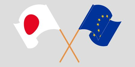 Crossed and waving flags of the EU and Japan. Vector illustration