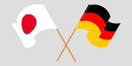 Crossed and waving flags of Germany and Japan. Vector illustration Ilustracja