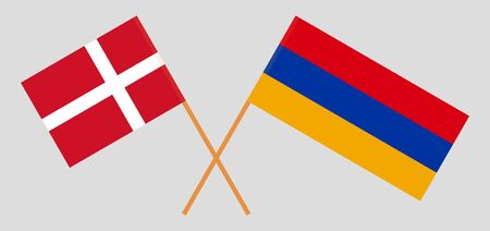 Armenia and Denmark. Armenian and Danish flags. Official colors. Correct proportion. Vector illustration