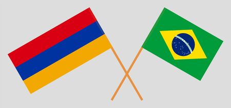 Armenia and Brazil. Crossed Armenian and Brazilian flags. Official colors. Correct proportion. Vector illustration Illustration