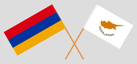 Armenia and Cyprus. Crossed Armenian and Cyprian flags. Official colors. Correct proportion. Vector illustration